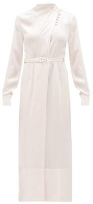 Gabriela Hearst Josefina High-neck Hammered Silk-satin Dress - Womens - Pink