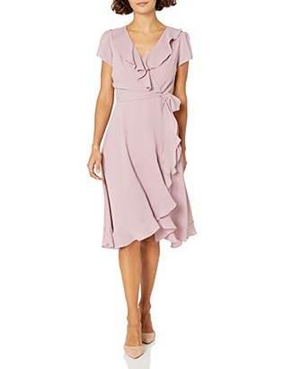 Gabby Skye Women's Petite Short Sleeve V-Neck Stripe Ruffled Faux Wrap Dress
