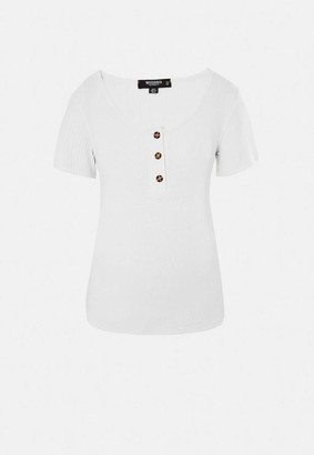 Missguided White Rib Button Front Maternity T Shirt