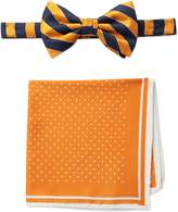 Steve Harvey Men's Satin Stripe Woven Bowtie and Dot Pocket Square
