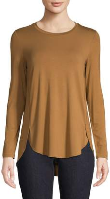 Lord & Taylor Petite Long-Sleeve Round Hem Top
