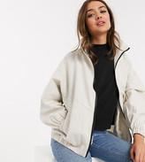 Asos DESIGN Petite linen oversized bomber jacket in cream