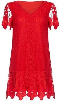 Yumi V Neck Border Lace Dress