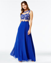 Say Yes to the Prom Juniors' Floral-Appliqué Illusion Gown, A Macy's Exclusive