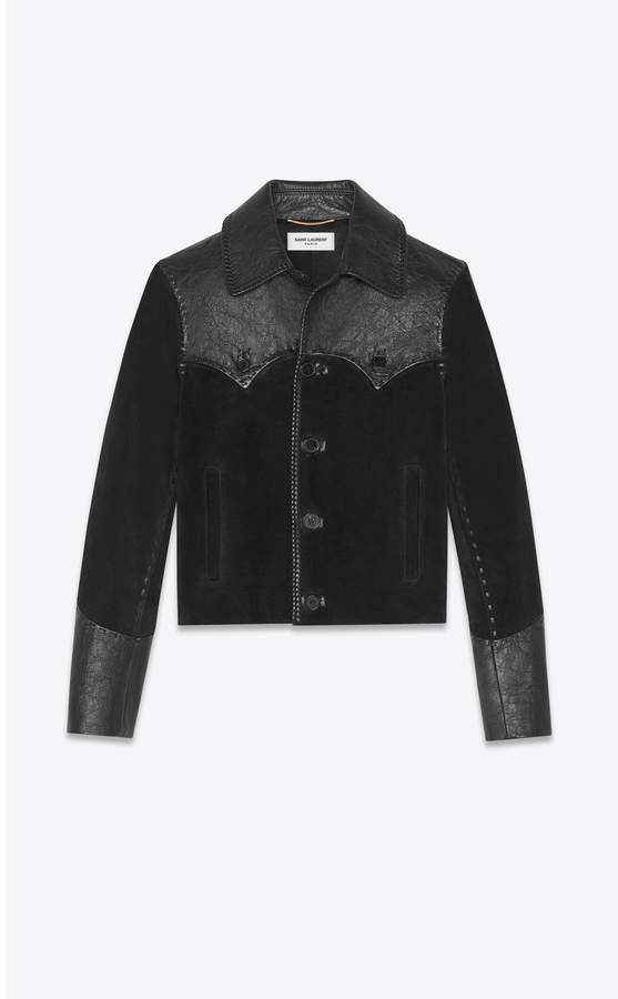 Saint Laurent Western-Style Jacket In Suede And Leather