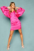 boohoo Woven Batwing Ruched Mini Dress