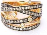 LeVian LE VIAN Ring 1 cttw Chocolate Vanilla Diamonds Multi Row Gladiator Criss Cross Band 14K Yellow Gold Size 7