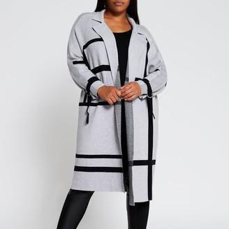 River Island Womens Plus Grey geometric design duster jacket