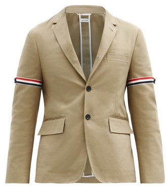 Thom Browne Tricolour-stripe Single-breasted Cotton Blazer - Beige
