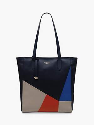 Radley Haven Street Patchwork Leather Tote Bag, Dark Blue/Multi