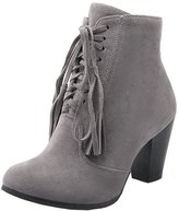 YE Women's Chunky High Heel Suede Retro Lace up Zipper Ankle Boots with Fringe Autumn Short Boots