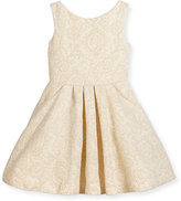 Zoe Sleeveless Metallic Jacquard Dress, Gold, Size 2-6