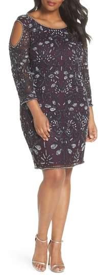 Pisarro Nights Embellished Cold Shoulder Dress