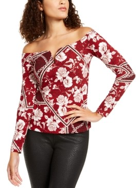 Thalia Sodi Sweetheart-Neck Printed Top, Created for Macy's