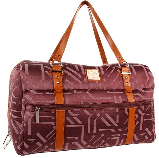 Diane von Furstenberg Modern Tile - 19 Overnighter (Plum) - Bags and Luggage