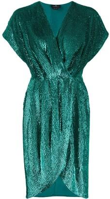 Elisabetta Franchi sequined wrap-style cocktail dress