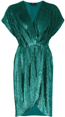 Elisabetta Franchi Sequined Wrap-Style Cocktail Dress