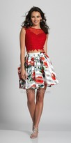 Dave and Johnny Rosette Two Piece Keyhole Back Cocktail Dress