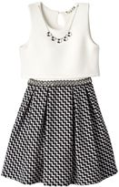 Knitworks Girls 7-16 Textured Popover Chevron Dress with Necklace
