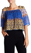 Nicole Miller Shoulder Tie Printed Butterfly Sleeve Blouse