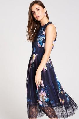Little Mistress Viola Floral Lace Hem Midi Dress