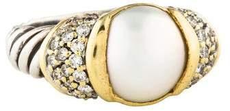 David Yurman Two-Tone Pearl & Diamond Ring