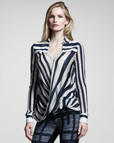 Derek Lam 10 Crosby Striped Drape-Front Blouse