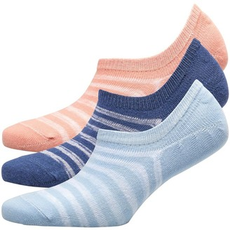 Fruit Cake Fruitcake Womens Three Pack Striped Invisible Trainer Liners Striped/Pink Blue Black