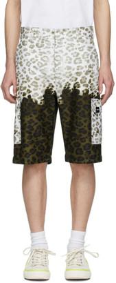 MSGM Green and Off-White Animalier Bermuda Shorts