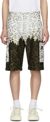 MSGM Green and Off-White Animalier Bermuda Shorts