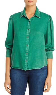 BILLY T Chambray Pleat-Shoulder Shirt