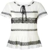 RED Valentino lace insert shortsleeved blouse - women - Silk/Polyamide - 42