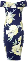 Quiz Navy And Yellow Floral Print Bardot Midi Dress