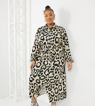 ASOS DESIGN Curve midi shirt dress in leopard print