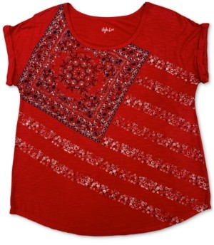 Style&Co. Style & Co Petite Paisley Flag Graphic T-Shirt, Created for Macy's