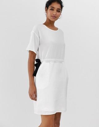 Vila tie waist mini dress-White