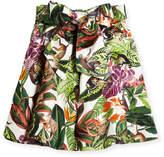 Oscar de la Renta Mikado Jungle Monkeys Bow Skirt, Size 4-14