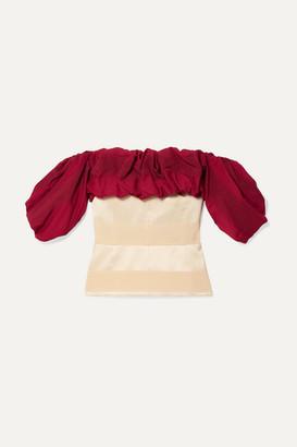 Hellessy Off-the-shoulder Ruffled Paneled Jacquard Blouse - Crimson