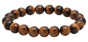 STEELTIME Men's Genunie Tiger Eye Stone Brown Beaded Bracelet