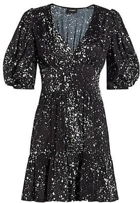 The Kooples Printed Puff-Sleeve Mini Dress