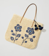 LOFT Floral Embroidered Straw Tote
