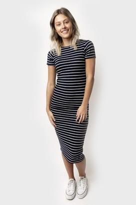 Gibson Stripe Rib Knit Maxi Dress