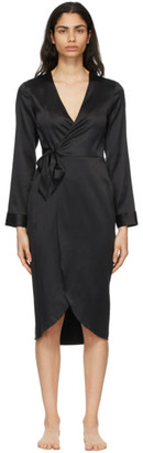 Fleur Du Mal Black Washable Silk Wrap Robe