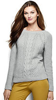 Classic Women's Tall Lofty Blend Cable Sweater-Blue Brook