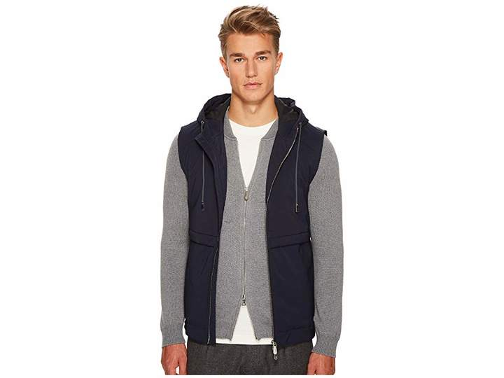Eleventy Wool Flannel Hooded Vest Men's Vest