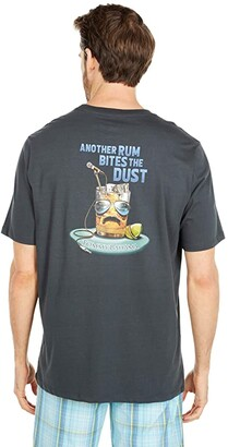 Tommy Bahama Another Rum Bites The Dust Tee (Coal) Men's Clothing
