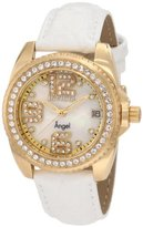 Invicta Women's 1116 Angel Crystal Accented Mother of Pearl Dial Interchangeable Leather Watch