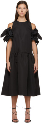 Victoria Victoria Beckham Black Gathered Detail Cold Shoulder Dress