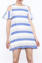 Alythea Striped Cold Shoulder Dress