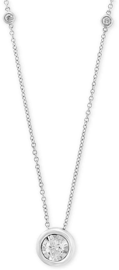 "Effy Bubbles by Diamond Bezel 18"" Pendant Necklace (1/2 ct. t.w.) in 14k White Gold"